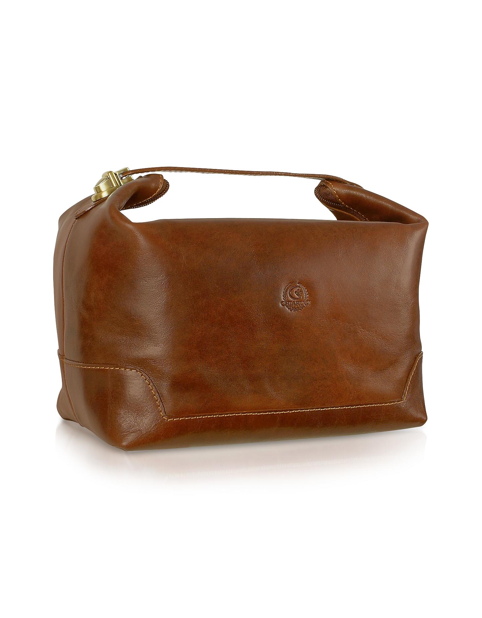 Handmade Brown Genuine Italian Leather Toiletry Travel Case