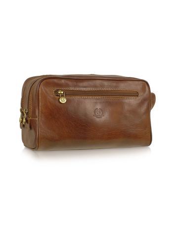 Handmade Brown Genuine Italian Leather Toiletry Travel Kit