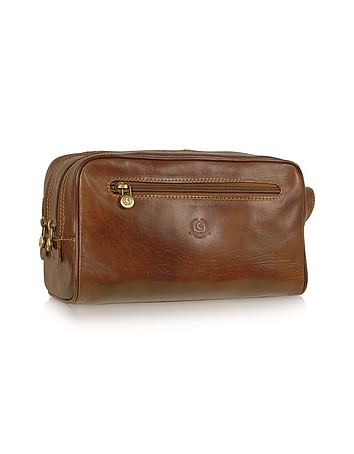 Chiarugi - Handmade Brown Genuine Italian Leather Toiletry Travel Kit