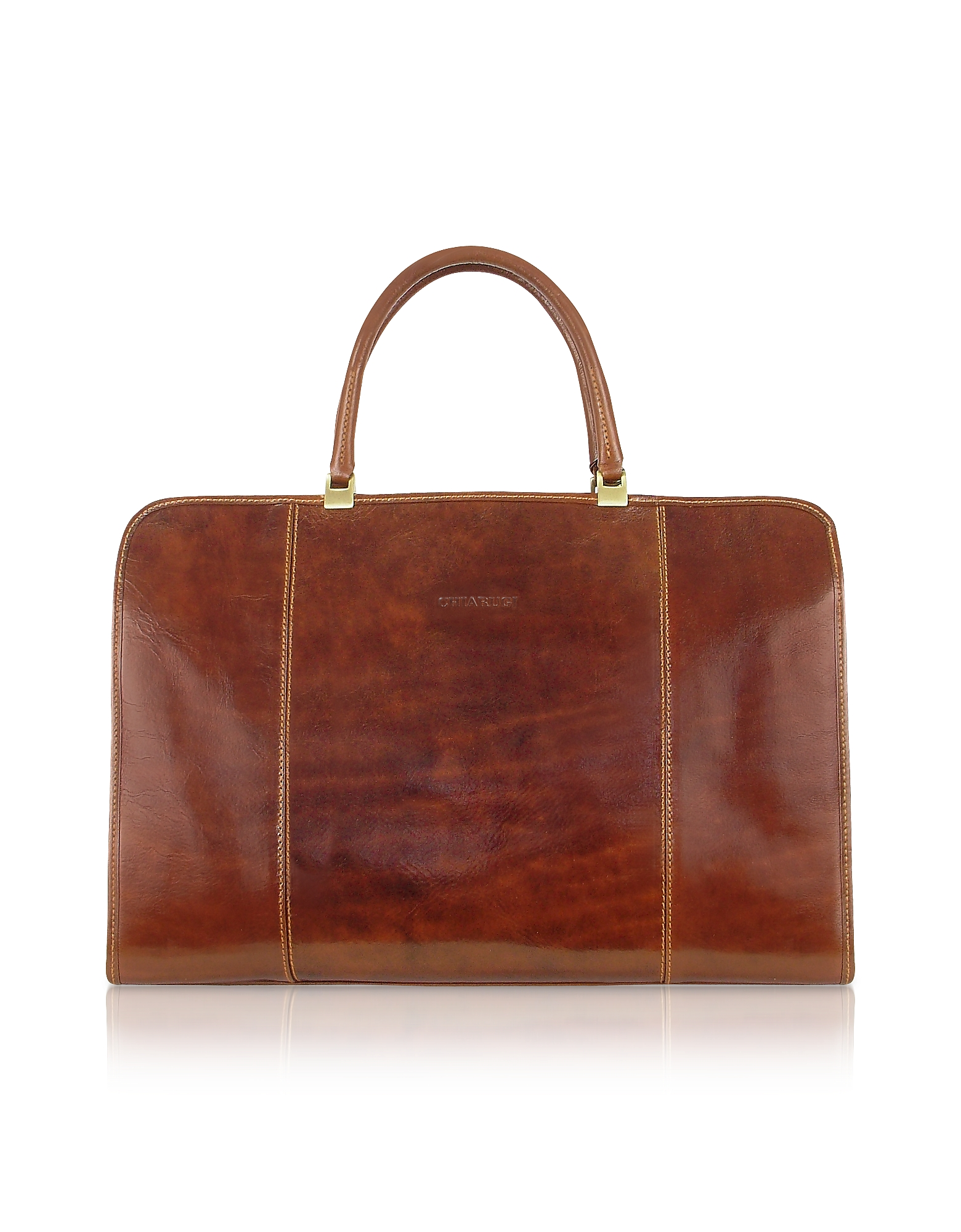 Chiarugi Briefcases, Handmade Brown Genuine Italian Leather Business Bag
