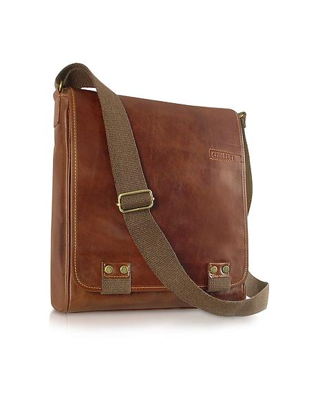 Chiarugi Messenger-Tasche aus echtem italienischem Leder in braun