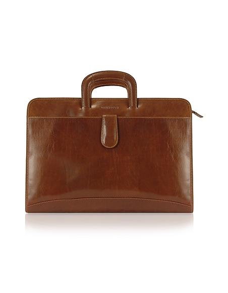 Chiarugi Portfolio Aktentasche aus echtem italienischem Leder - handverarbeitet in braun