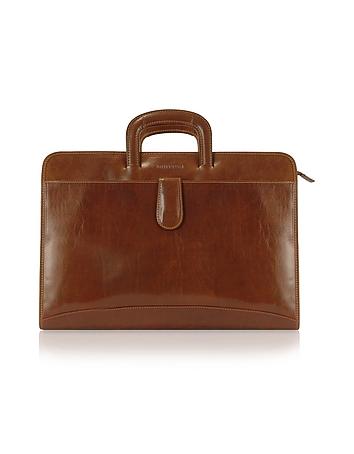 Handmade Brown Genuine Italian Leather Portfolio Briefcase