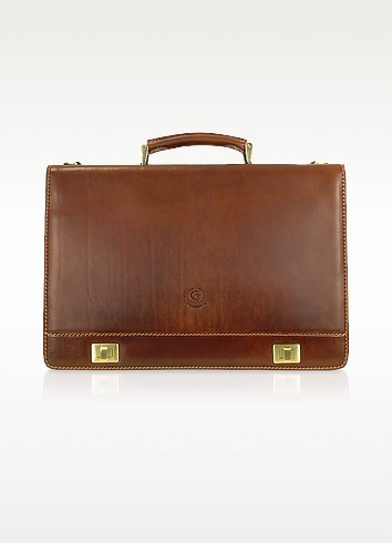 Handmade Brown Genuine Italian Leather Multi-pocket Briefcase - Chiarugi