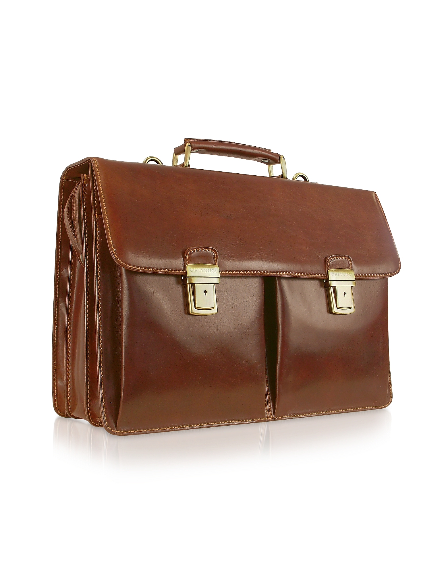 Chiarugi Briefcases, Handmade Brown Genuine Italian Leather Briefcase
