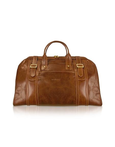 Chiarugi Handgearbeitete Reisetasche aus echtem italienischem Leder in braun