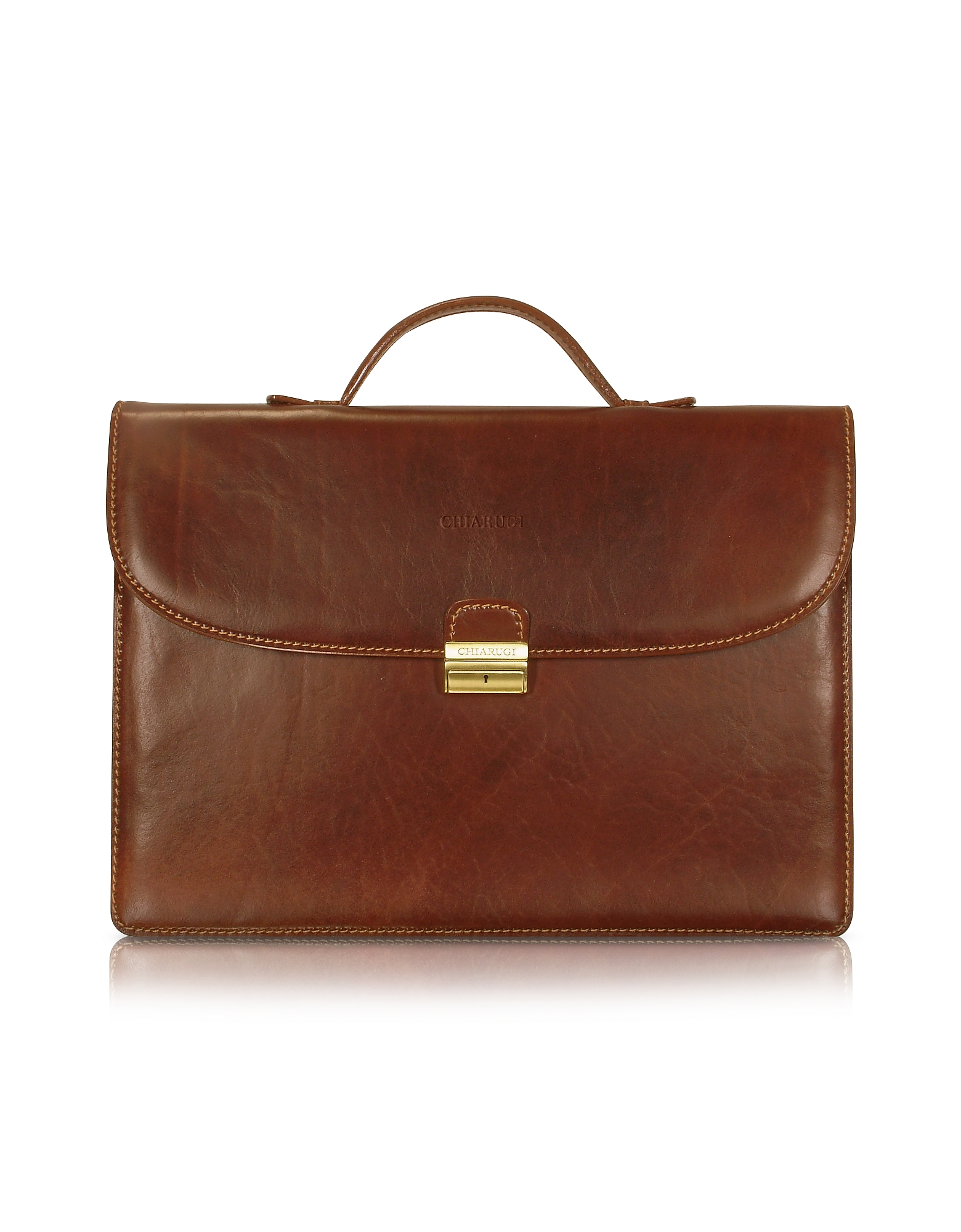 Chiarugi Men's Handmade Brown Leather Single Gusset Briefcase