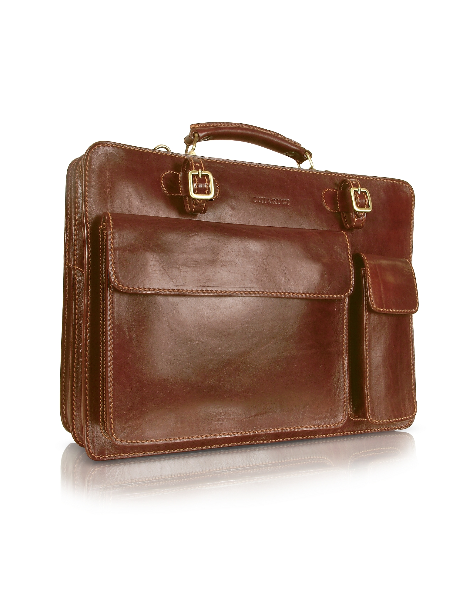 Chiarugi Designer Briefcases, Handmade Brown Genuine Leather Double Gusset Briefcase