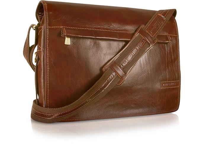 Handmade Brown Genuine Leather Messenger Bag - Chiarugi