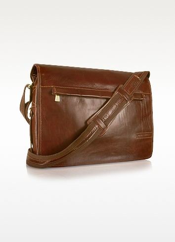 Handmade Brown Genuine Leather Messenger Bag - Chiarugi