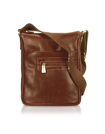 Handmade Brown Genuine Leather Vertical Cross-Body Bag