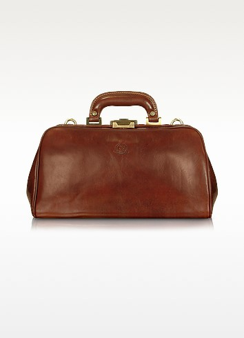 Handmade Brown Genuine Leather Doctor Bag - Chiarugi