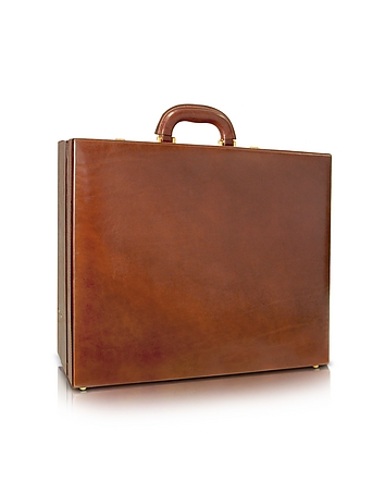 Men's Handmade Brown Leather Attache Briefcase