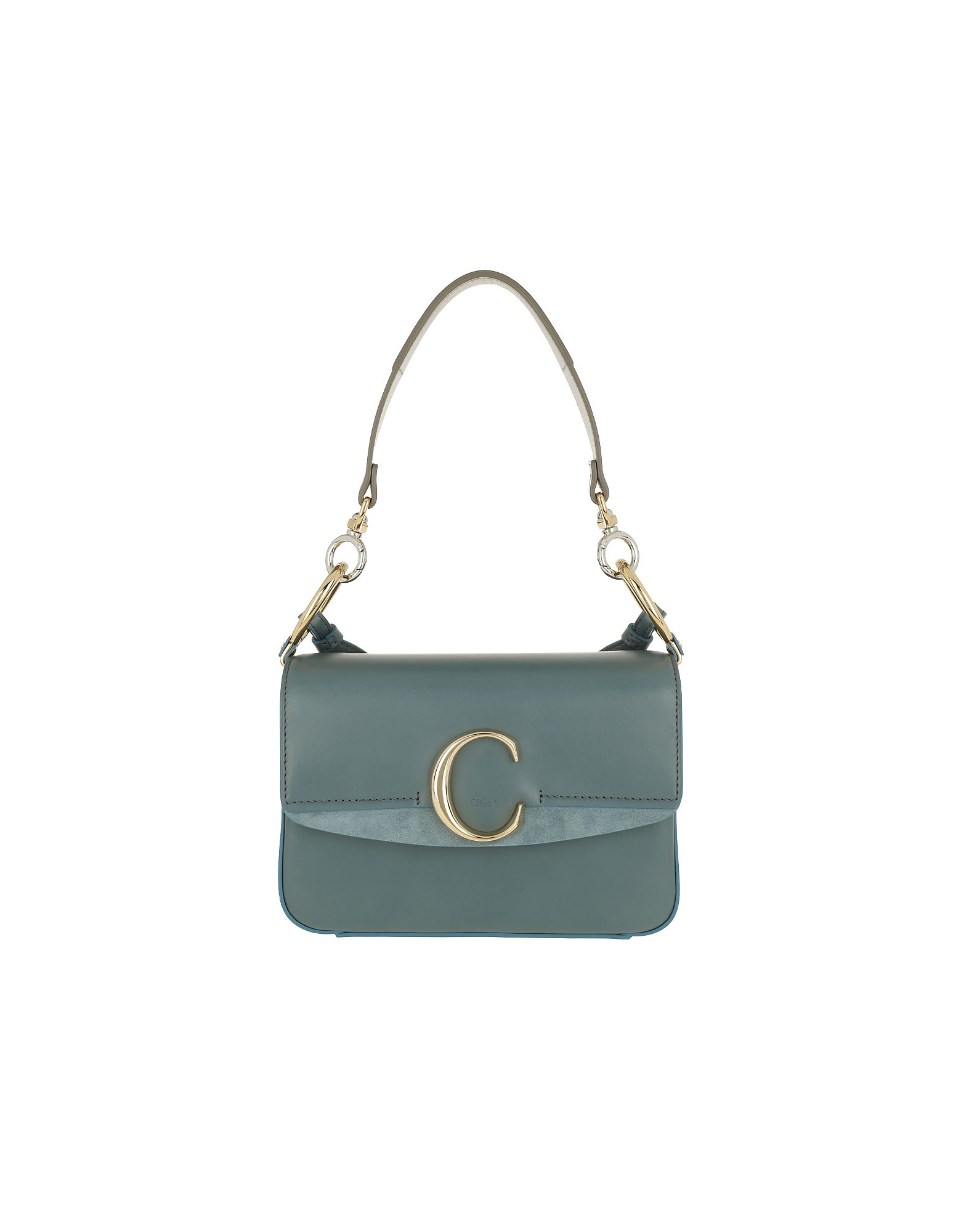 Chloe C Double Carry Small Shoulder Bag Leather Cloudy Blue
