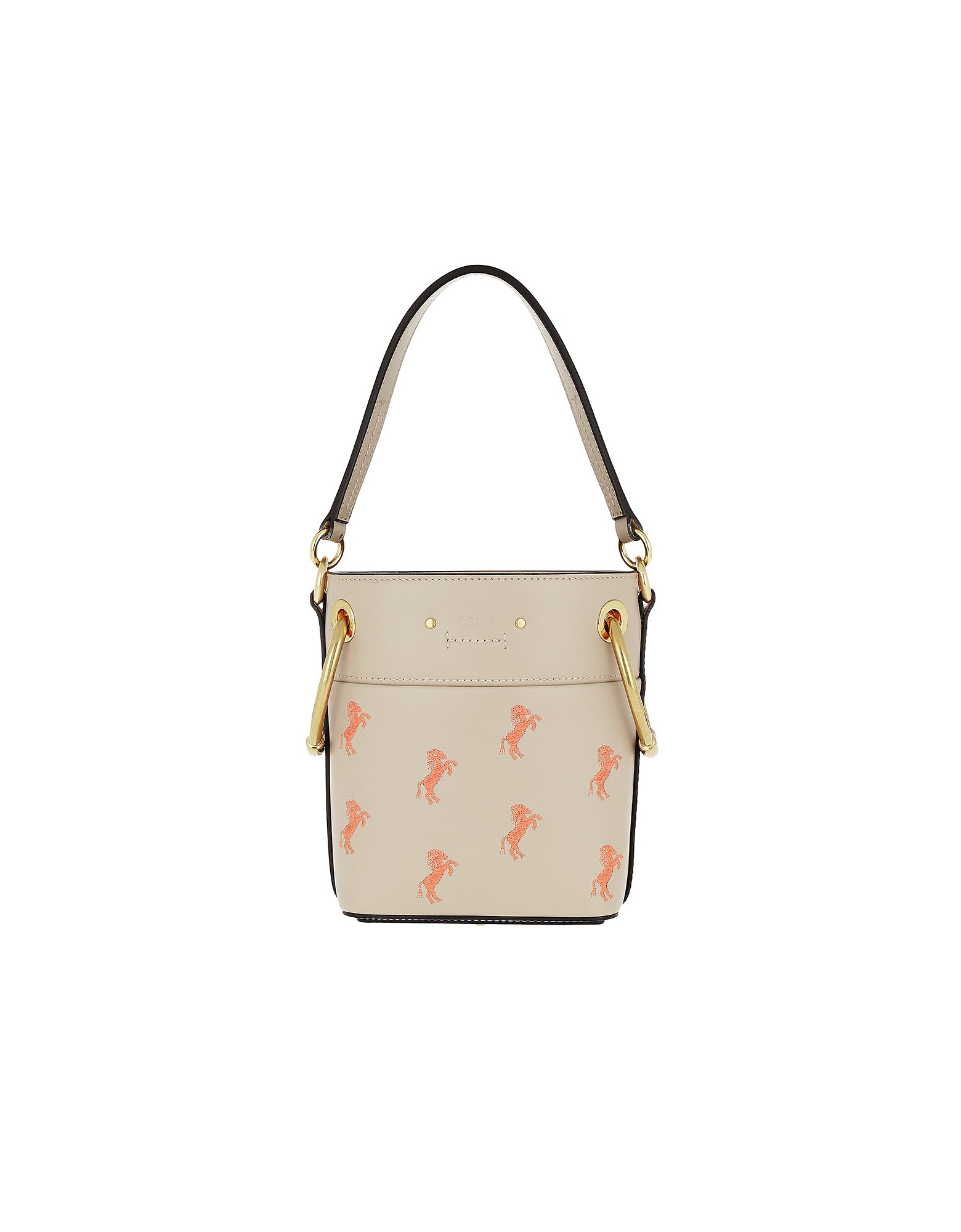 Mini Bucket Bag Embroidery Calfskin Pastel Grey