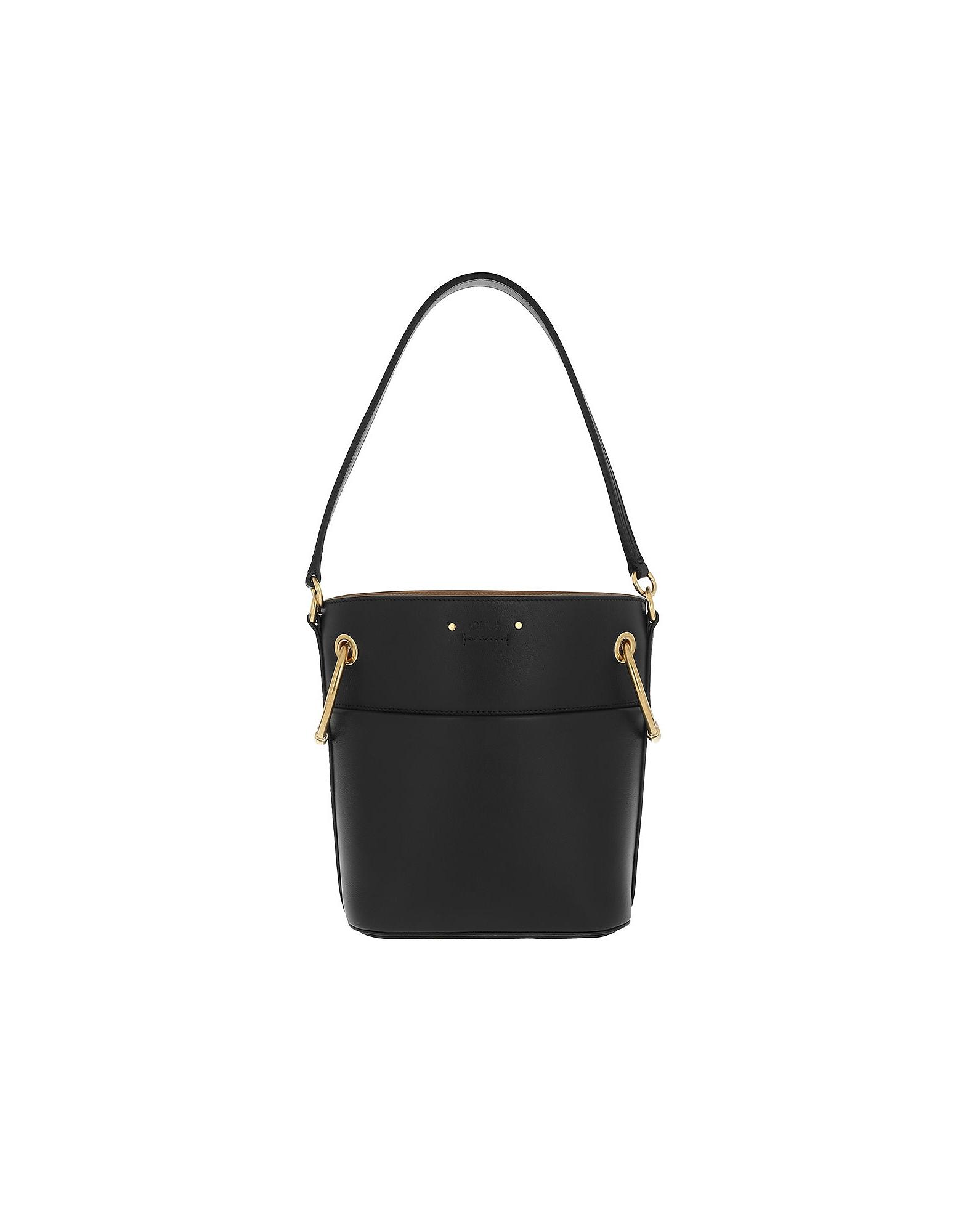 Chloe Handbags, Roy Bucket Bag Small Smooth Calfskin Black