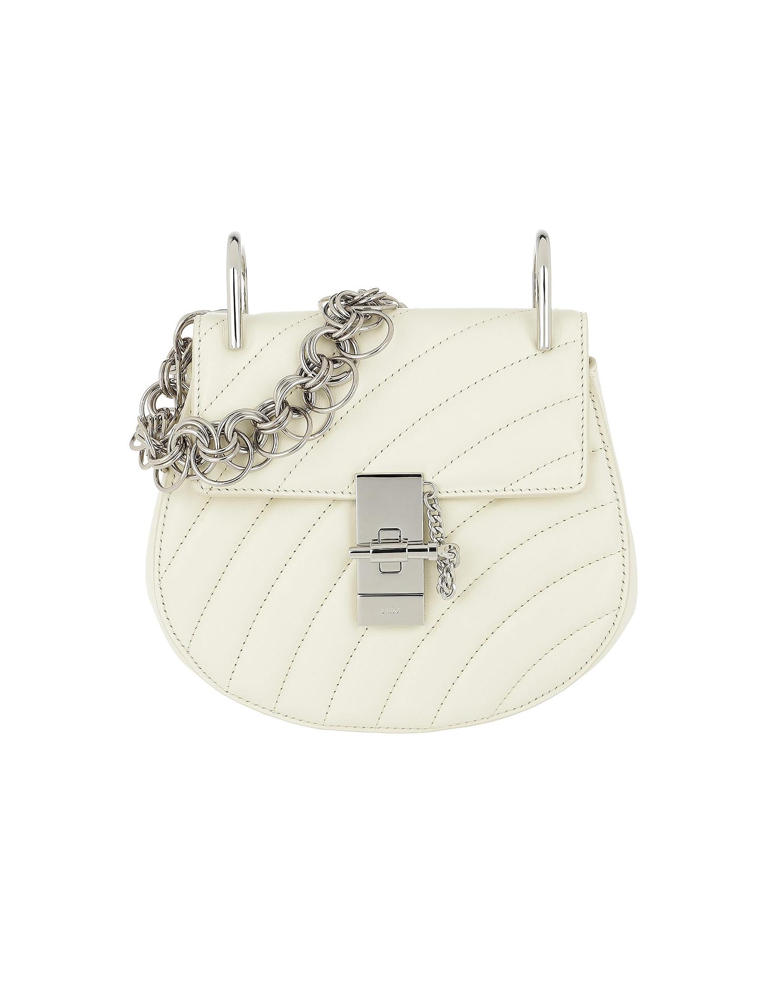Chloe Handbags, Drew Bijou Mini Quilted Leather Natural White