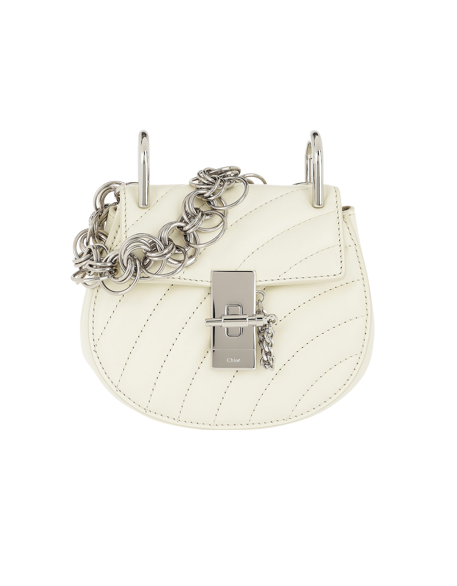 Drew Bijou Nano Quilted Leather Natural White