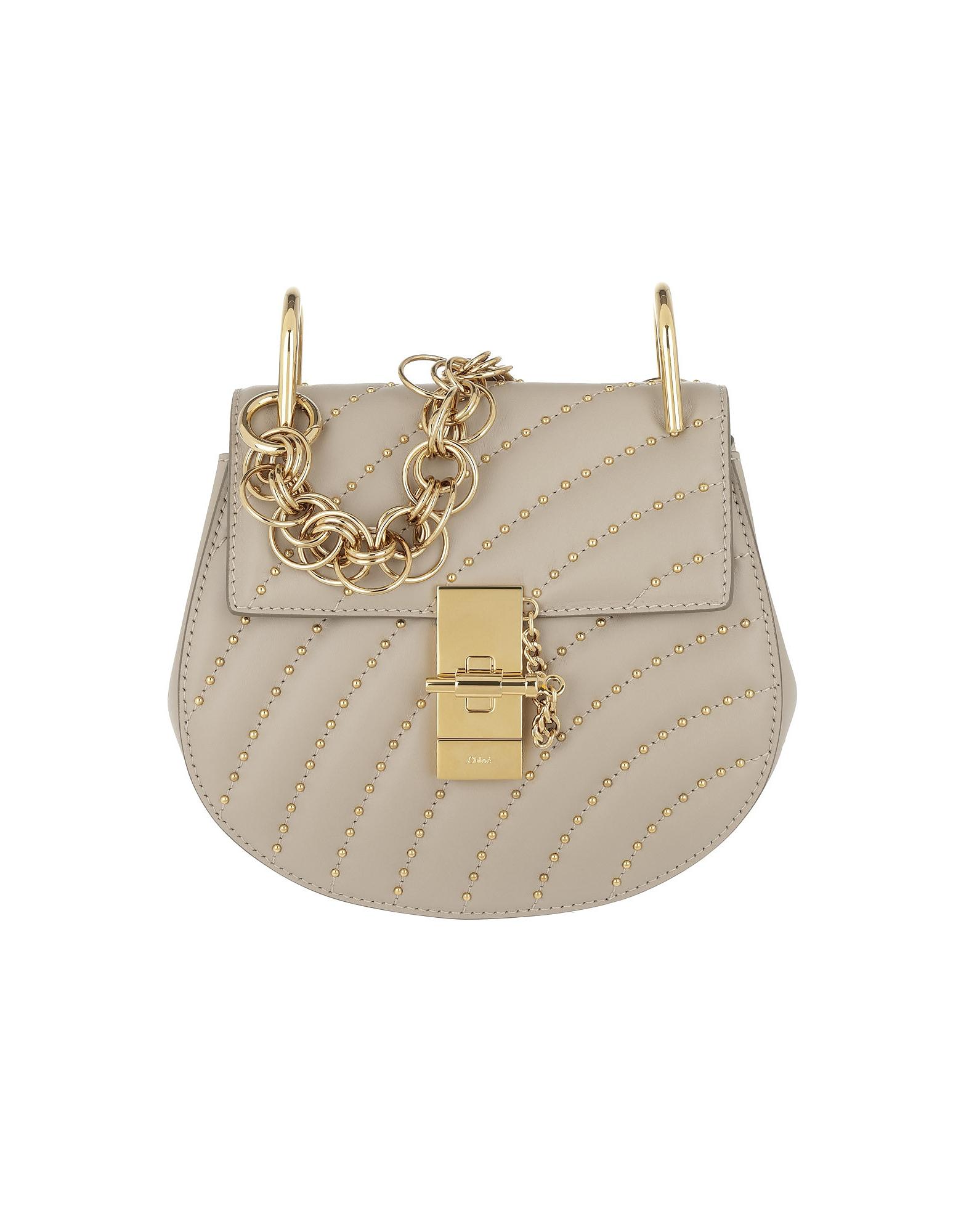 Chloe Handbags, Drew Bijou Mini Leather Pastel Grey