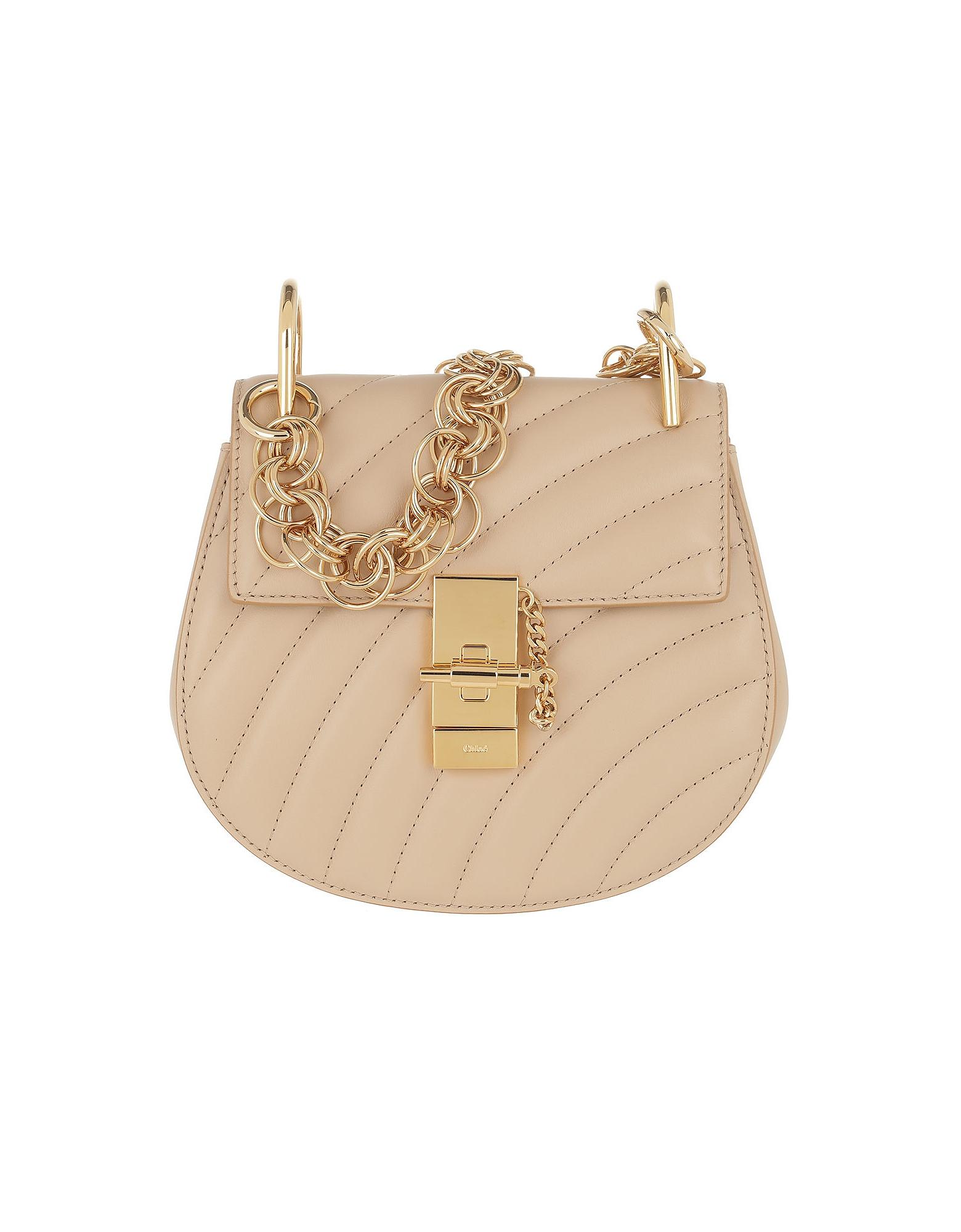 Drew Bijou Mini Leather Pearl Beige