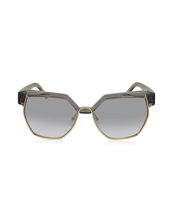 Chloe - DAFNE CE 665S 036 Gray Acetate and Gold Metal Geometric Women's Sunglasses