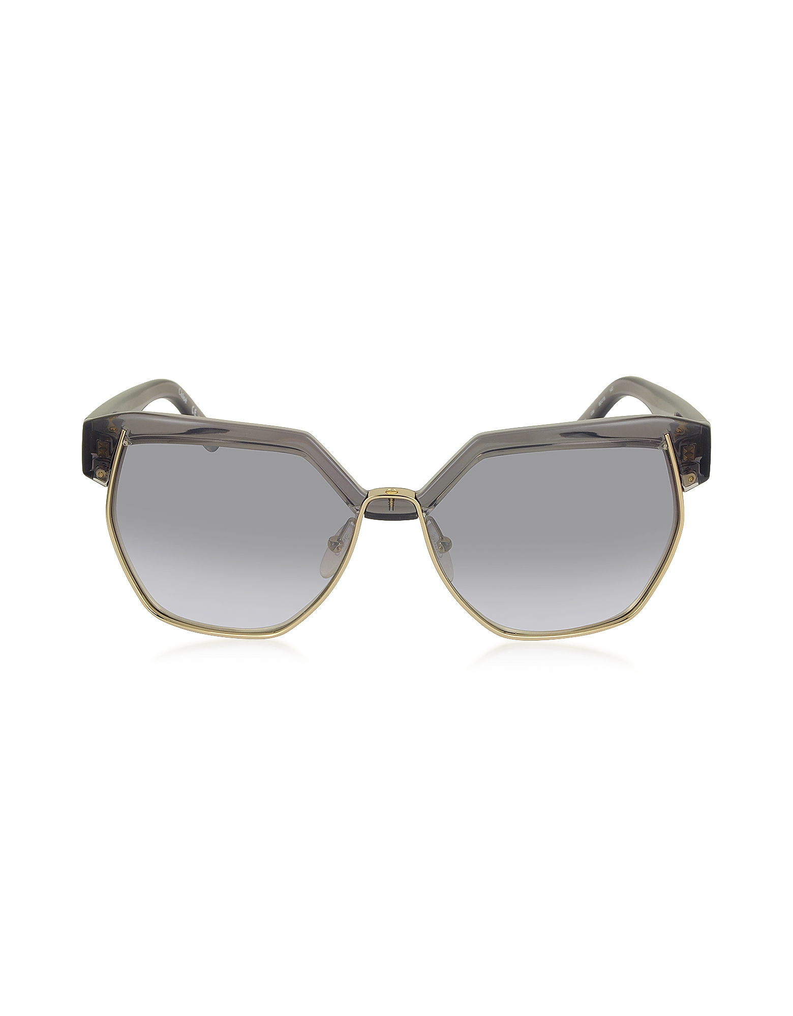 Chloe Sunglasses, DAFNE CE 665S 036 Gray Acetate and Gold Metal Geometric Women's Sunglasses