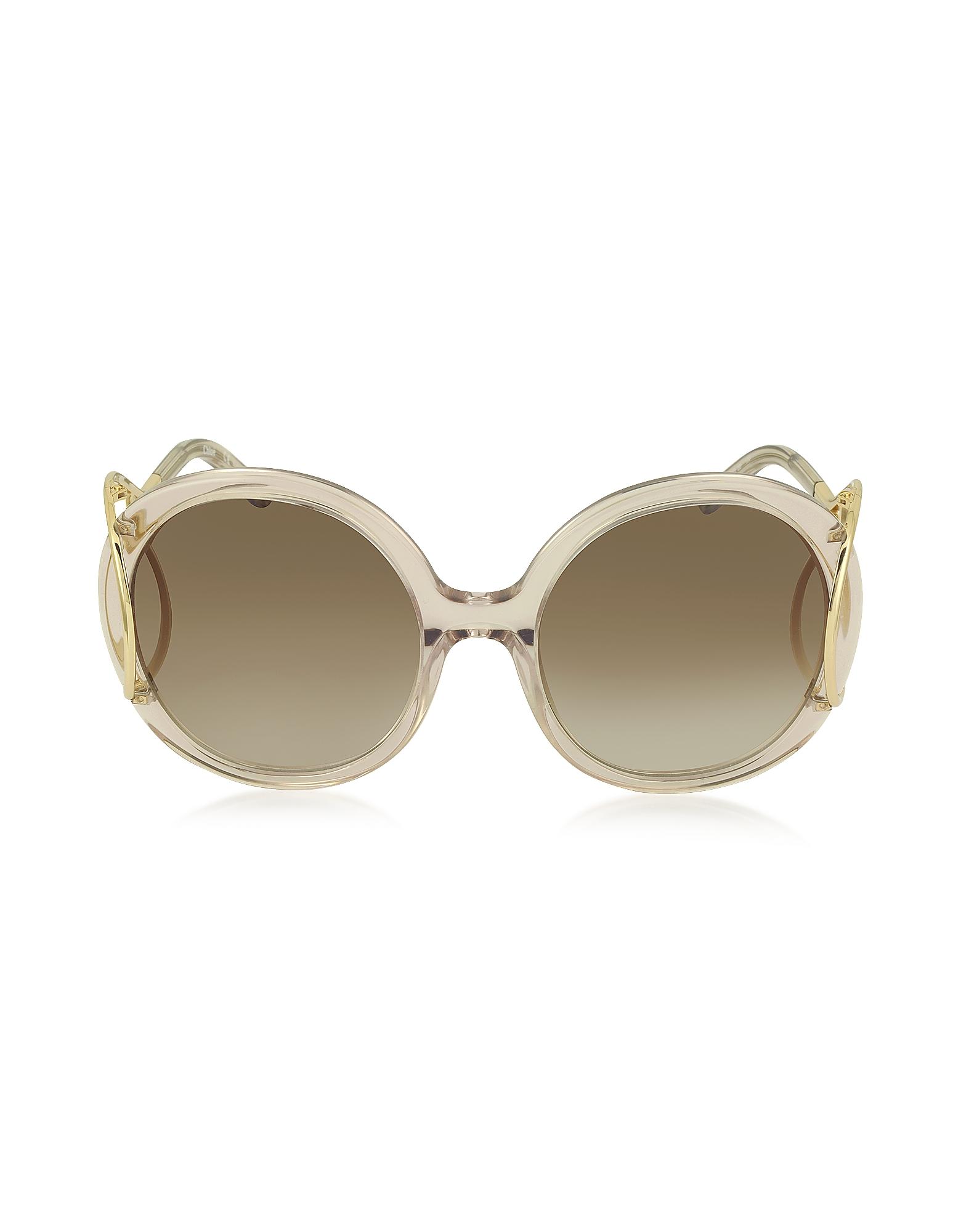 Chloe Sunglasses, JACKSON CE 703S Large Round Acetate and Metal Women's Sunglasses