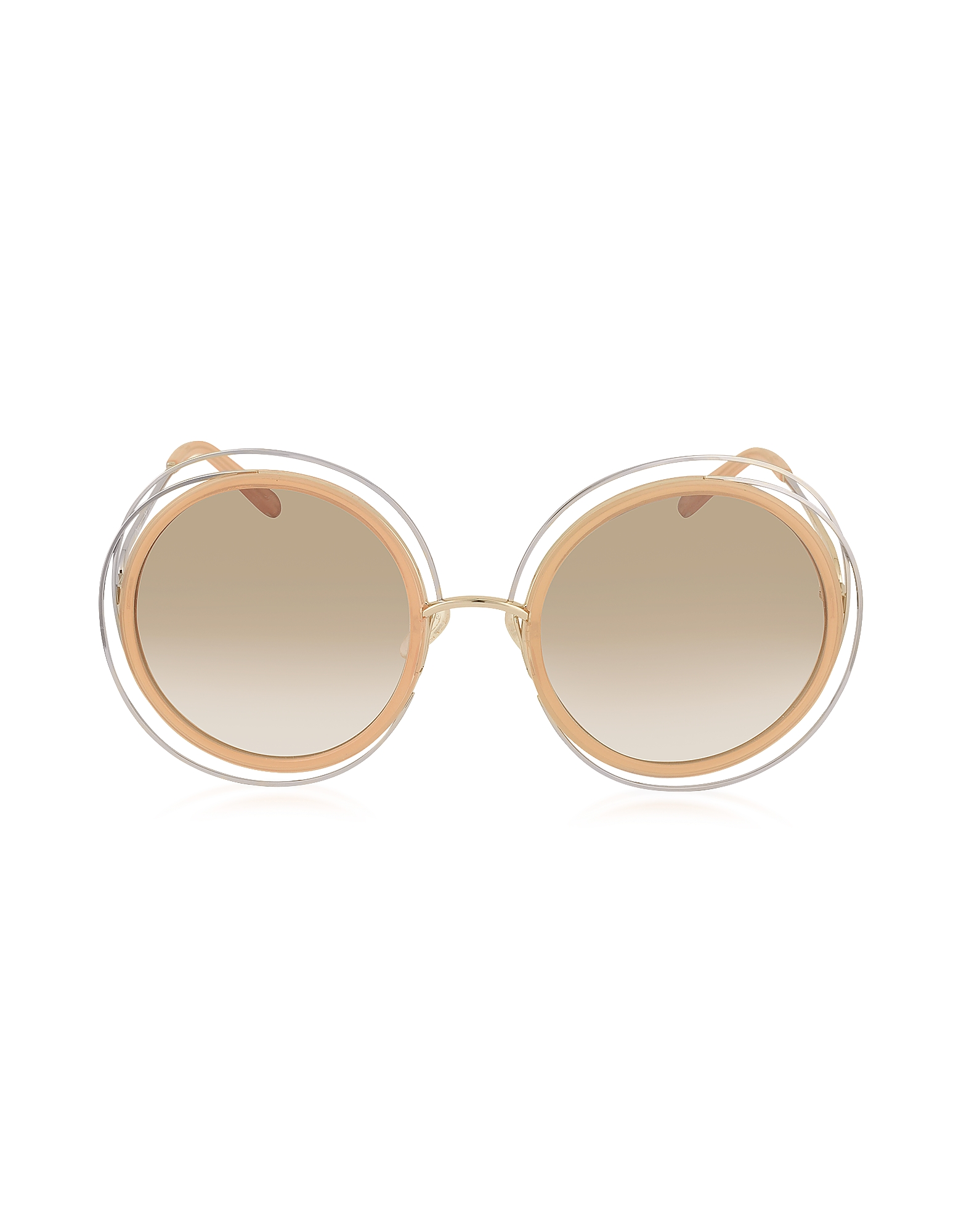 Chloe Sunglasses, CARLINA CE 120S Round Oversized Acetate & Metal Women's Sunglasses