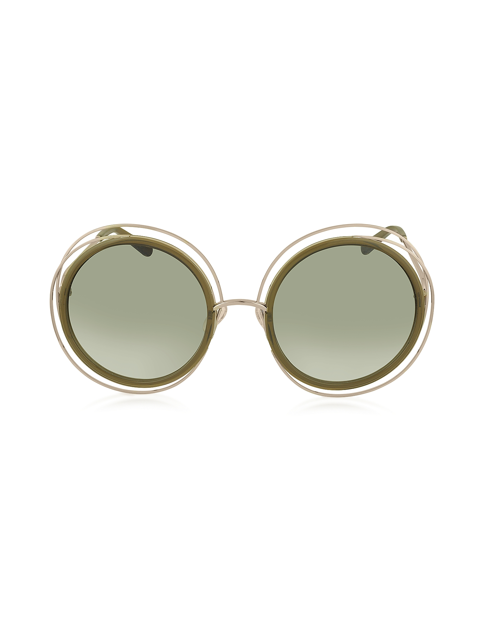 Chloe Sunglasses, CARLINA CE 120S Round Oversized Acetate & Metal Women's Sunglasses