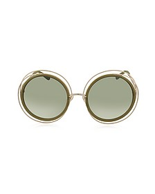 CARLINA CE 120S Round Oversized Acetate & Metal Women's Sunglasses - Chloe