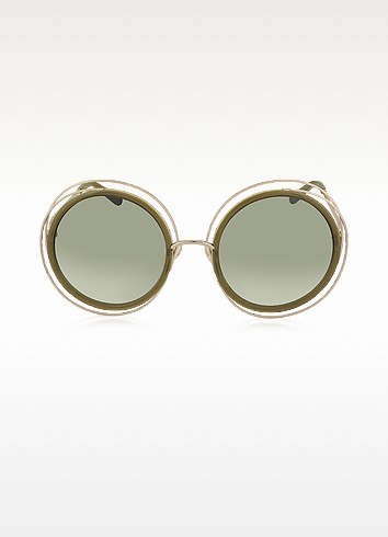 CARLINA CE 120S Round Oversized Acetate & Metal Women's Sunglasses - Chloe