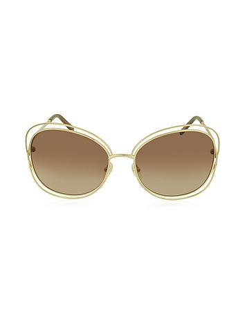 Chloe - CARLINA CE 119S 786 Gold Metal Square Women's Sunglasses