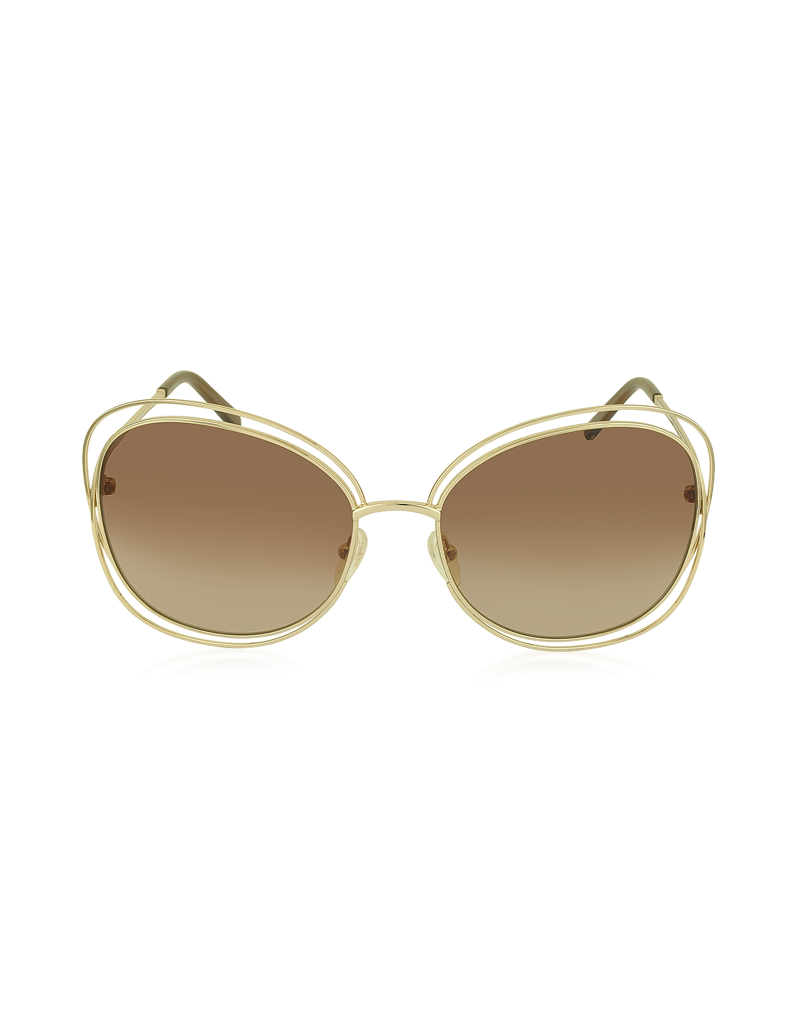 Chloe Sunglasses, CARLINA CE 119S 786 Gold Metal Square Women's Sunglasses