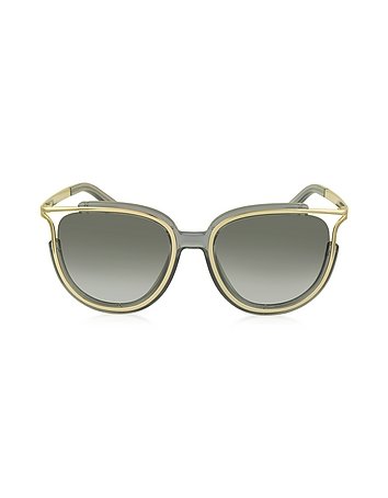 Chloe - JAYME CE 688S 036 Gray Acetate and Gold Metal Square Women's Sunglasses