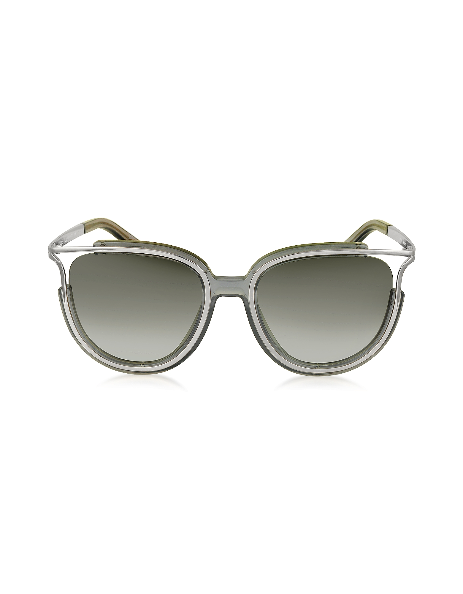 Chloe Sunglasses, JAYME CE 688S 036 Gray Acetate and Silver Metal Square Women's Sunglasses