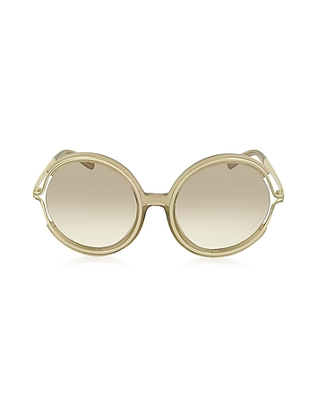 Chloe - JAYME CE 708S 272 Light Brown Acetate and Gold Metal Round Women's Sunglasses