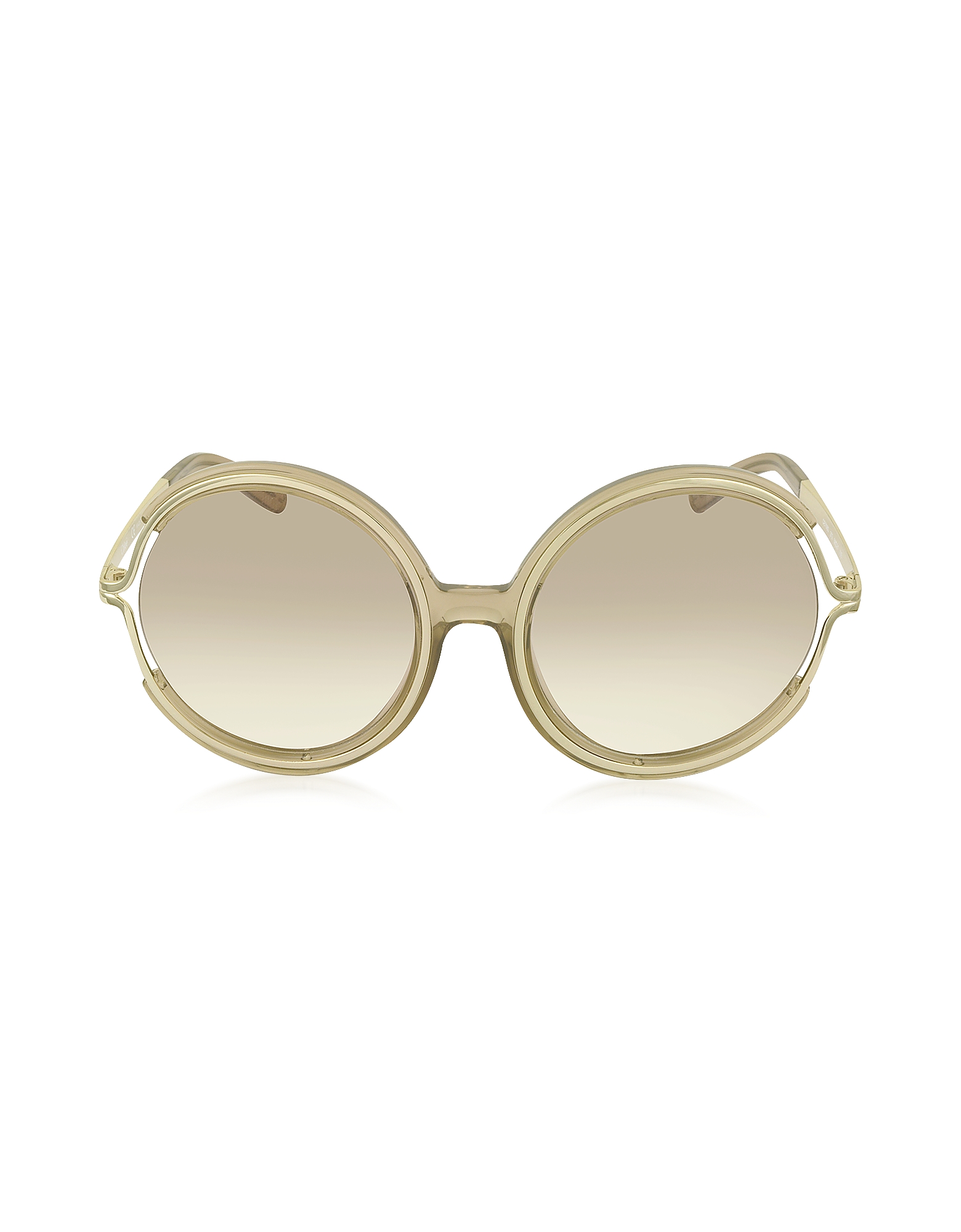 Chloe Sunglasses, JAYME CE 708S 272 Light Brown Acetate and Gold Metal Round Women's Sunglasses