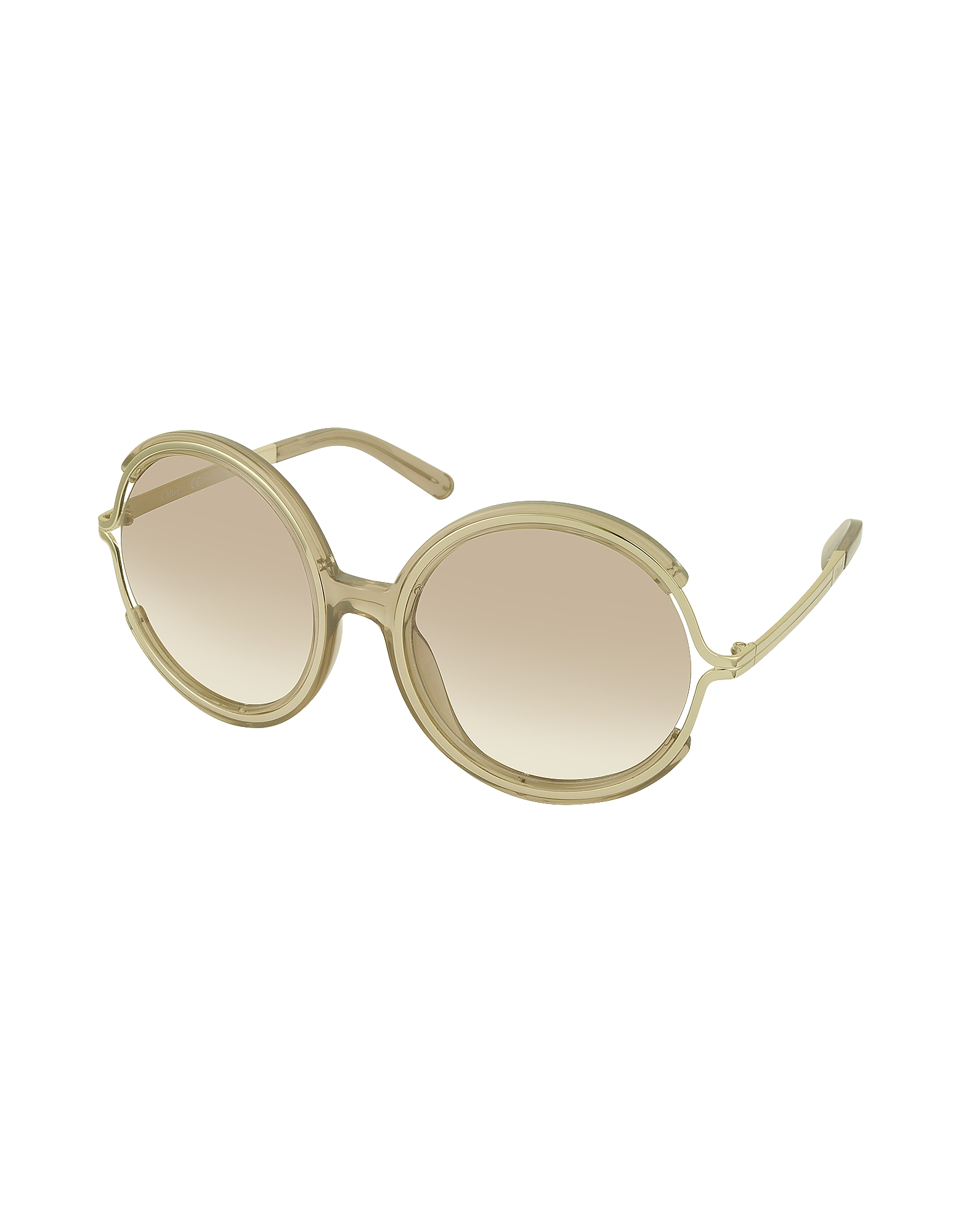 JAYME CE 708S 272 Light Brown Acetate and Gold Metal Round Women's Sunglasses от Forzieri.com INT