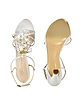 White Jeweled T-Strap Sandal Shoes - Casadei