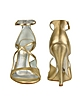Gold Strappy Cutout Sandal Shoes - Casadei