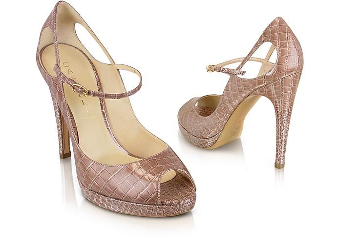 Beige Patent Croco Peep Toe Shoes - Casadei