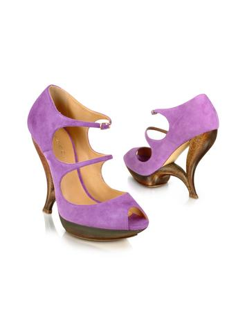 Purple Suede Peep Toe Strappy Shoes