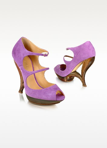 Purple Suede Peep Toe Strappy Shoes - Casadei