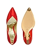 Red Satin Pump Wedge Cutout Shoes - Casadei