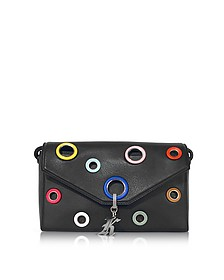 Multi Eyelet Devine Black Leather Shoulder Bag - Christopher Kane