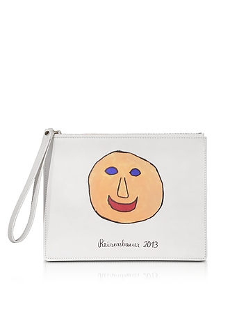 Christopher Kane - Gugging Smile Art White Leather Clutch
