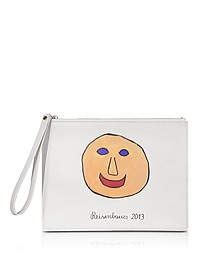 Gugging Smile Art White Leather Clutch - Christopher Kane