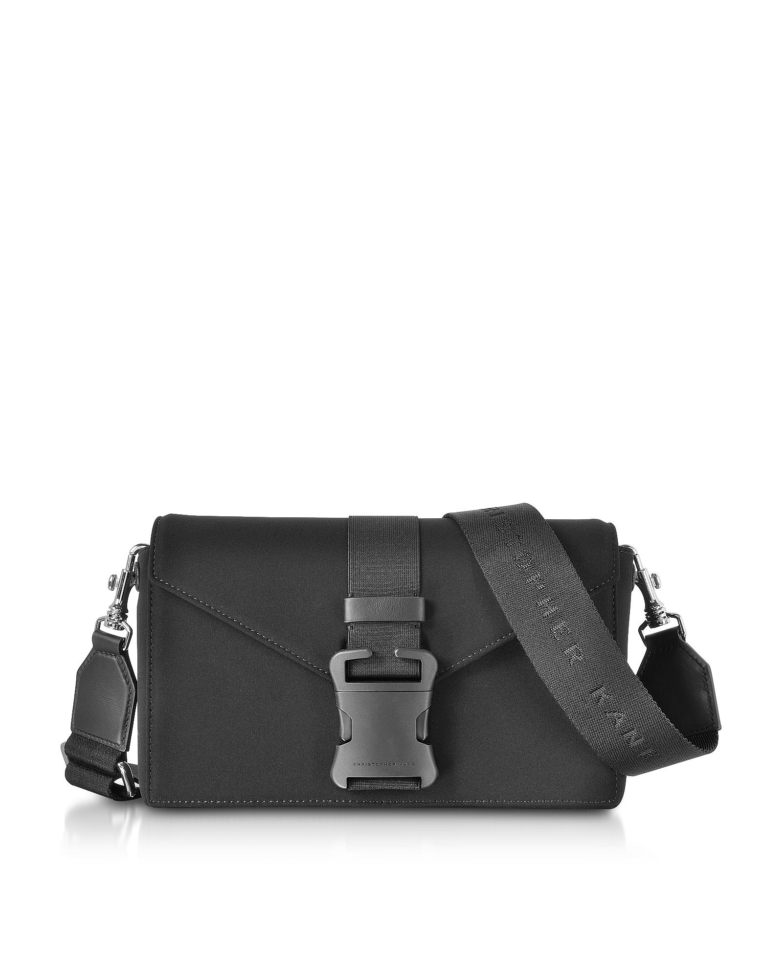 Image of Christopher Kane Designer Handbags, Black Neoprene Devine Og Bag