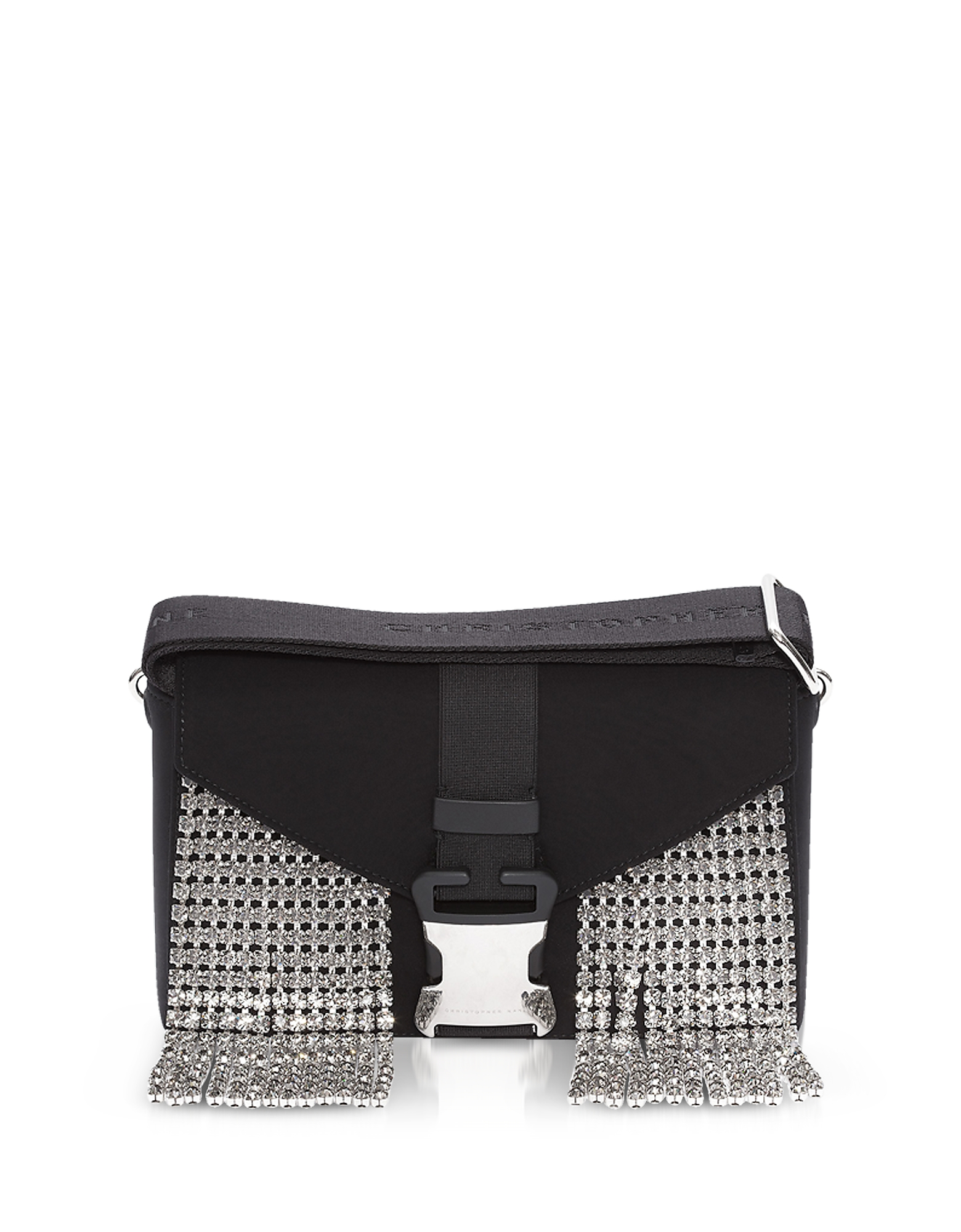 Image of Christopher Kane Designer Handbags, Black Neoprene & Crystals Devine Og Bag