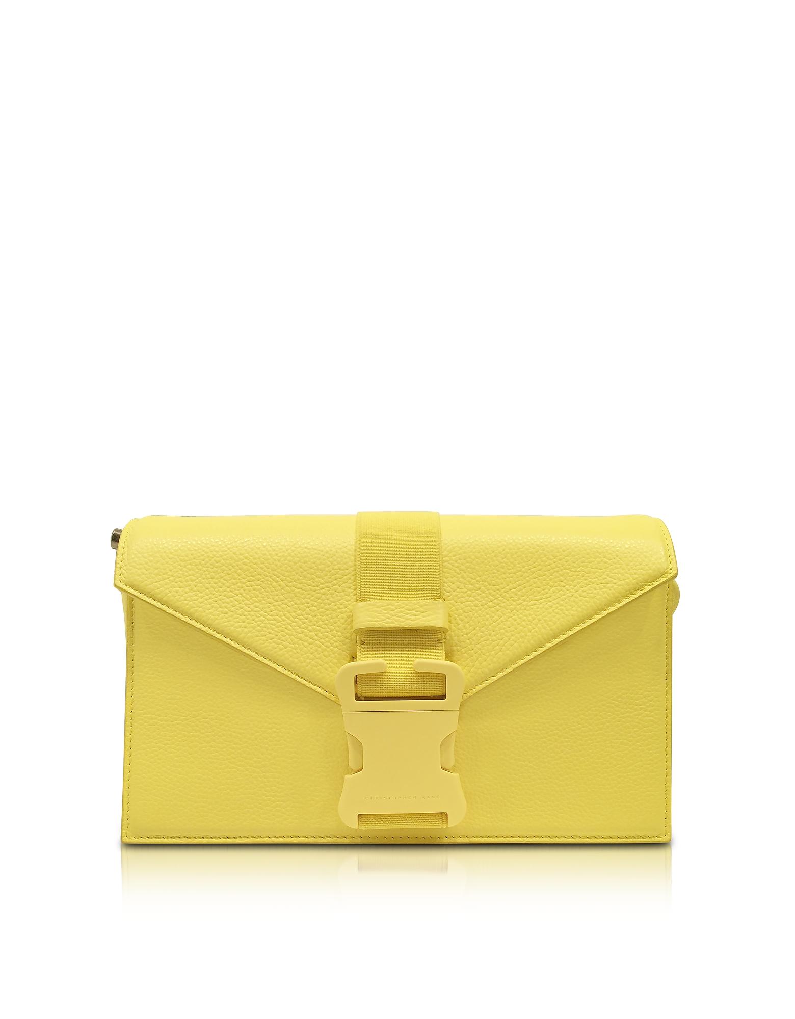 Christopher Kane Handbags, Solar Yellow Grained Leather Devine Og Bag